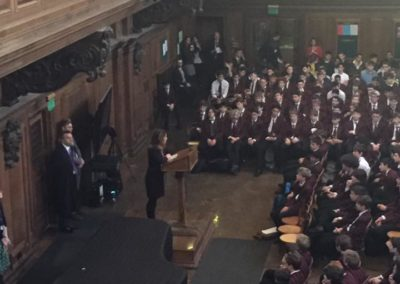 Co-founder Kerry Rosenfeld speaking at UCS - a boys' secondary school in north London, which has raised more than £10,000 for DRF